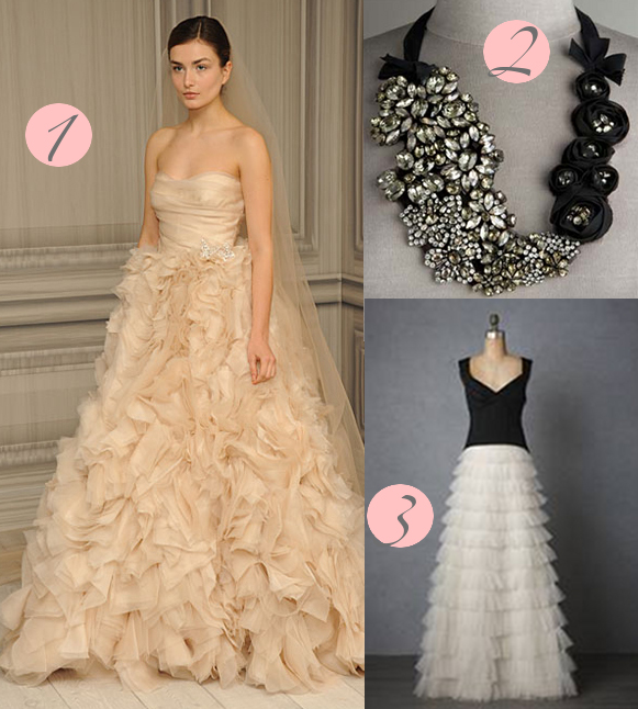 1 Monique Lhuillier Waltz 2 Vera Wang Crystal Rosette 3 BHLDN
