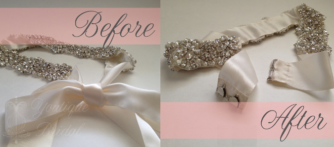 Bridal sash restyle tie sash into a hookeye closure beforeafter sash pinterest solutioingenieria Images