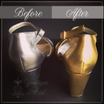 Spray painting the shoes a metallic gold